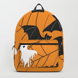 Flying Ghosts & Bats Halloween orange Backpack