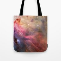 nasa Tote Bags featuring Nebula star Orion galaxy hipster NASA space and stars photo by iGallery
