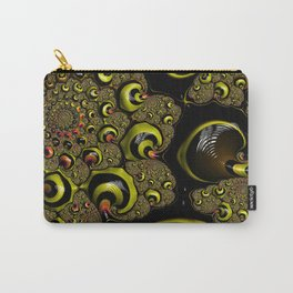 Down The Rabbit Hole Bumble Bee Yellow Black Funky Zebra Stripe Abstract Swirl Fractal Art Design Carry-All Pouch