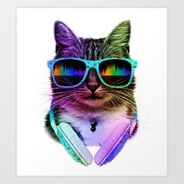 Cool Cat With Glasses And Headphones Art Print