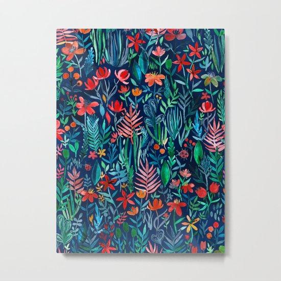 Tropical Ink - a watercolor garden Metal Print