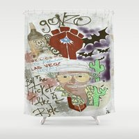 fear and loathing Shower Curtains featuring Fear and Loathing Print by Just Bailey Designs .com
