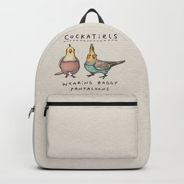 Cockatiels Wearing Baggy Pantaloons Backpack
