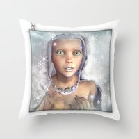 "cassia beck Throw Pillows featuring ""Froza"" by MiaSnow and Trindolyn Beck by Trindolyn Beck"