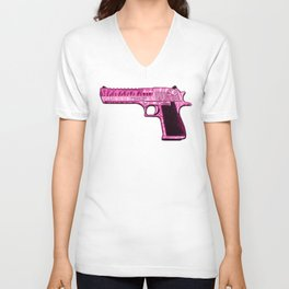 Pink Desert Eagle Modern Art Unisex V-Neck
