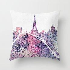 Paris Skyline + Map #1 Throw Pillow