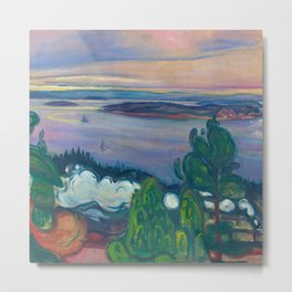 Mountains and Islands - Smoke from a Train Early Morning Sunrise landscape painting by Edvard Munch Metal Print