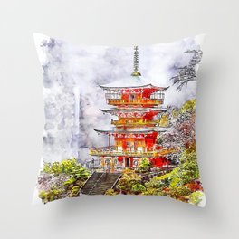 Wakayama Castle Japan Watercolor Throw Pillow