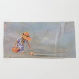 Collecting Sea Shells Beach Towel