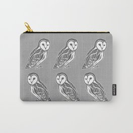 Grey and White Barn Owls Pattern Carry-All Pouch