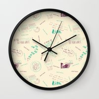 tegan and sara Wall Clocks featuring Doodlethrob (Tegan and Sara) creme by MR Kent