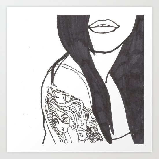 Girl With a Mermaid Tattoo Art Print