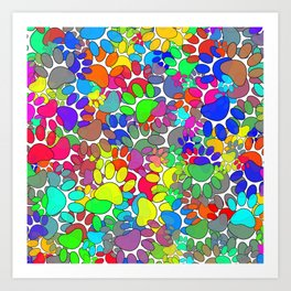 Lots Of Dog Paw Prints All Over Art Print