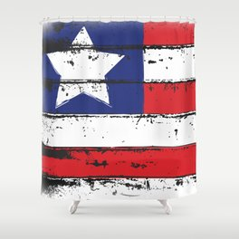 Wood Grain American Flag 4th of July with Fade Print Shower Curtain