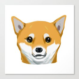 a shiba inu dog headshot Canvas Print