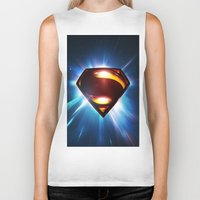 man of steel Biker Tanks featuring Man of Steel Logo by taylorwayne93