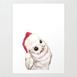 Christmas Snowy Owl Art Print