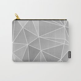 Geo Pattern (Silver Sand and White) Carry-All Pouch