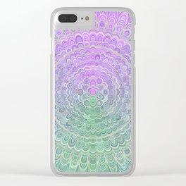 Pastel Purple Flower Mandala Clear iPhone Case