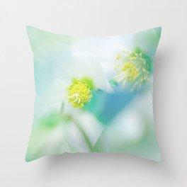 Soft hellebores Throw Pillow
