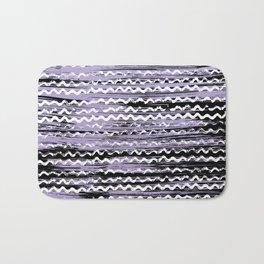 Geometrical lilac black white watercolor brushstrokes Bath Mat