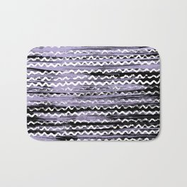 Geometrical lilac black white watercolor brushstrokes Bath Mat