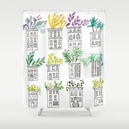 Row House Planters Shower Curtain