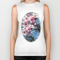 cherry blossoms Biker Tanks featuring Cherry Blossoms by Just Kidding