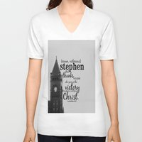 stephen king V-neck T-shirts featuring Stephen victorious by KimberosePhotography