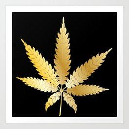 Gold Cannabis Leaf Art Print