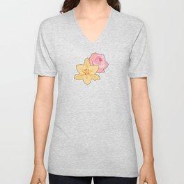 Pink Rose & Day Lily Unisex V-Neck