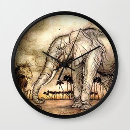 An Elephant and A Lion - Vintage Artwork Wall Clock