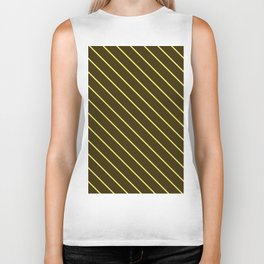 Brown And Yellow Stripes Biker Tank