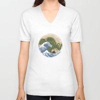 hokusai V-neck T-shirts featuring Hokusai Cthulhu by Marco Mottura - Mdk7