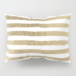White faux gold elegant modern striped pattern Pillow Sham
