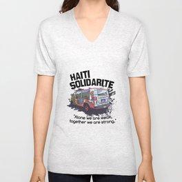Haiti Solidarity - Ayiti Solidarite Unisex V-Neck
