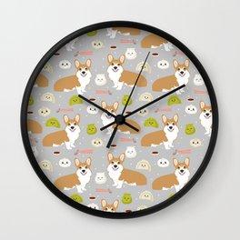 Corgi dim sum kawaii food welsh corgis cute dog pure breed must have gifts Wall Clock