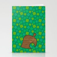 animal crossing Stationery Cards featuring Animal Crossing Spring Grass by Rebekhaart