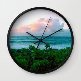 Succulents on the Beach Wall Clock