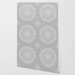 Secret garden mandala in soft gray Wallpaper