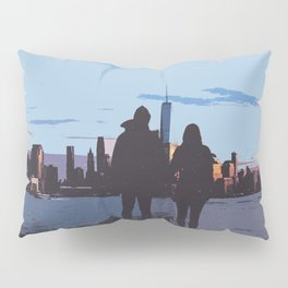 Couple Looking At New York City Skyline Artistic Pillow Sham