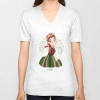 poland V-neck T-shirts featuring Poland by Melissa Ballesteros Parada