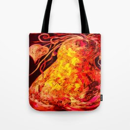 Red Abstract Pear Tote Bag