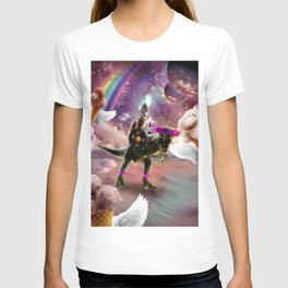 Cat Riding Dinosaur With Flying Space Ice Cream T-shirt