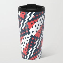 Chocktaw Geometric Square Cutout Pattern - Candy Cane USA Travel Mug