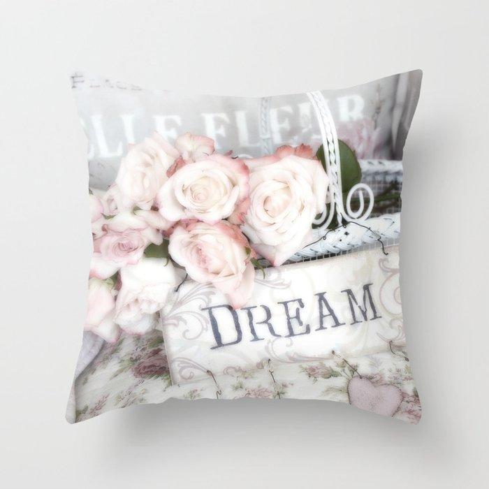 Shabby Chic Basket Dream Roses Throw Pillow