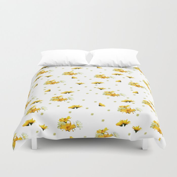 Golden Yellow and White Asters Digital Oil Paint Pattern Duvet Cover