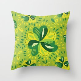 Three Leaf Clovers Spring Green Pattern Throw Pillow