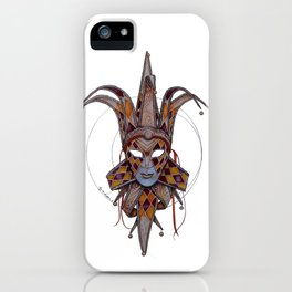 Male Venetian Jester Mask | Watercolor and Colored Pencil  iPhone Case