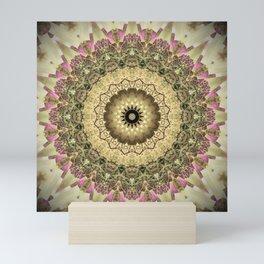 Vintage Gold Pink Mandala Design Mini Art Print